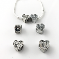 10 Tibetan Silver large Hole Heart Beads 13x8mm